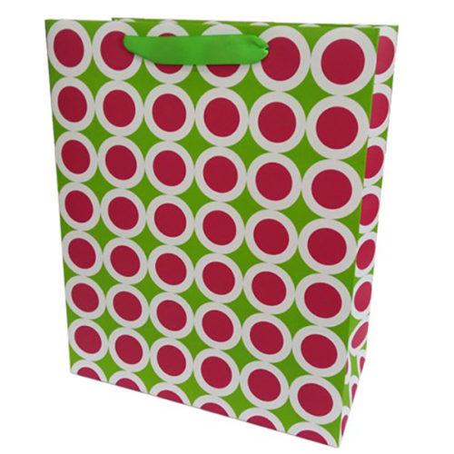 Пакет подарочный 26 х 32 х 12 Точки в белой окантовке Зеленый