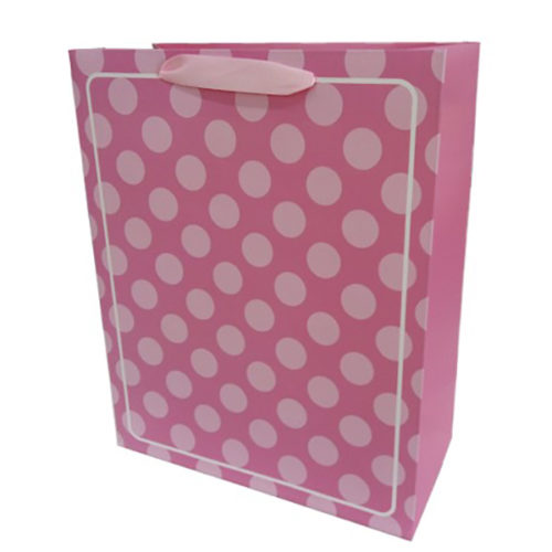 Пакет подарочный 31 х 42 х 12 В белую точку Розовый