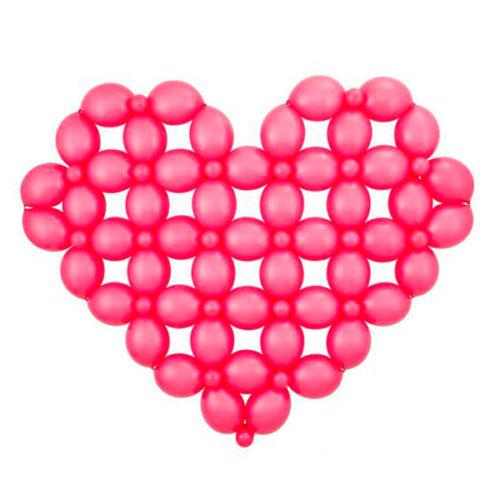 Розовое сердце плоское из воздушных шаров