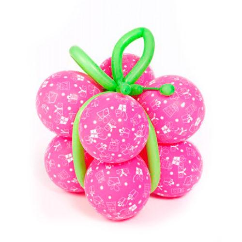 Розовый подарок большой из воздушных шаров