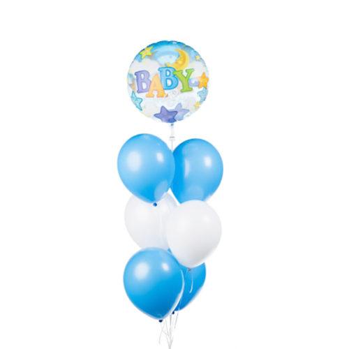 Связка голубых шаров для малыша