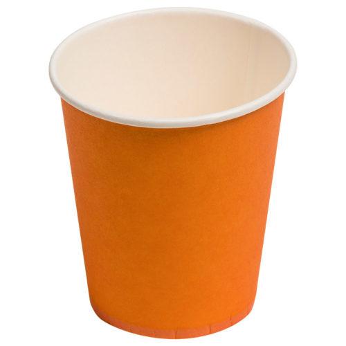 Стаканы бумажные 180 мл Однотонные Оранжевый 6 штук