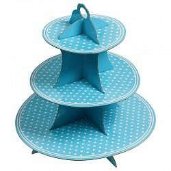 Стойка для кексов 3 яруса Голубые точки