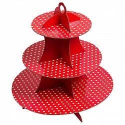 Стойка для кексов 3 яруса Красные точки