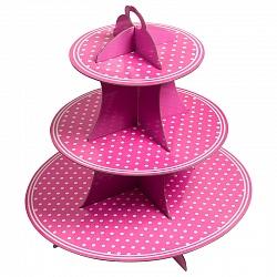 Стойка для кексов 3 яруса Розовые точки