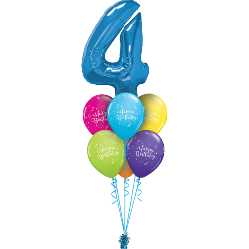 Связка из 6 разноцветных шаров и цифрой 4 голубой