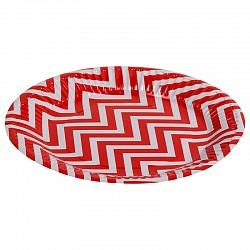 Тарелки бумажные 17 см Красные зигзаги 6 штук