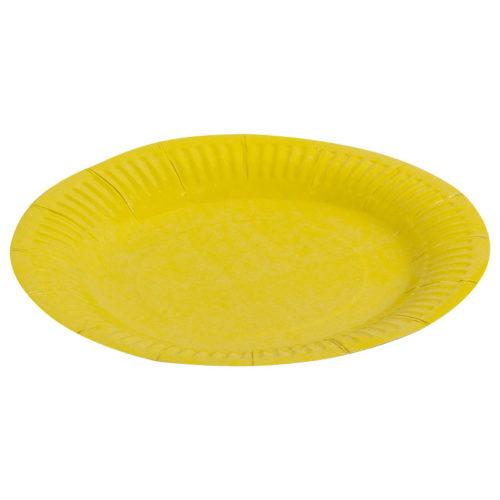 Тарелки бумажные 17 см Однотонные Желтый 6 штук
