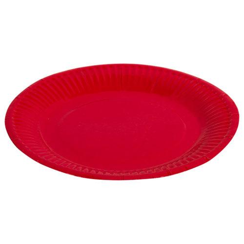Тарелки бумажные 17 см Однотонные Красный 6 штук