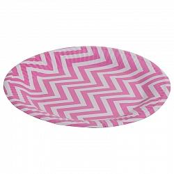 Тарелки бумажные 17 см Розовые зигзаги 6 штук