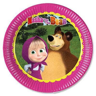 Тарелки бумажные 23 см Маша и Медведь 8 штук
