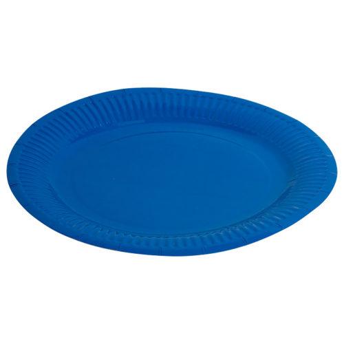 Тарелки бумажные 23 см Однотонные Синий 6 штук
