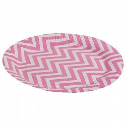 Тарелки бумажные 23 см Розовые зигзаги 6 штук