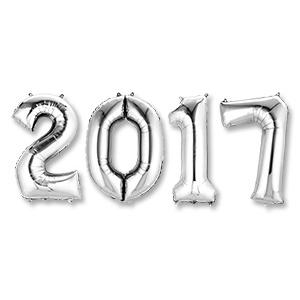 Надпись из шаров 2017 с воздухом Серебро
