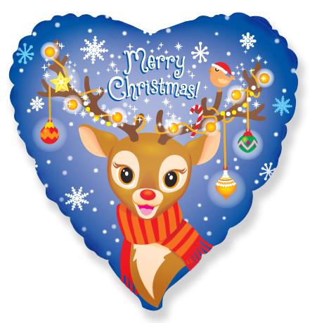 Шар 46 см Сердце Рождественский Олененок