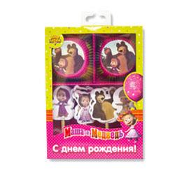 Декор-комплект для кексов Маша и Медведь на 24 капкейка