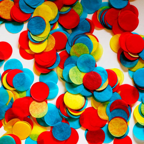 Конфетти Круги 4 см Голубой Желтый Красный