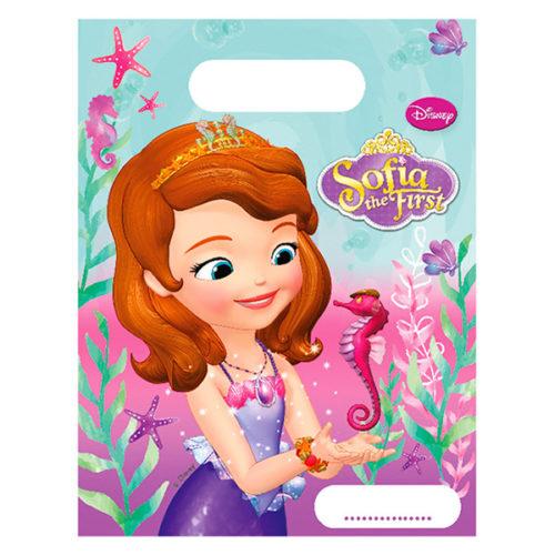 Пакеты подарочные 17 х 23 Принцесса София Морская 6 штук