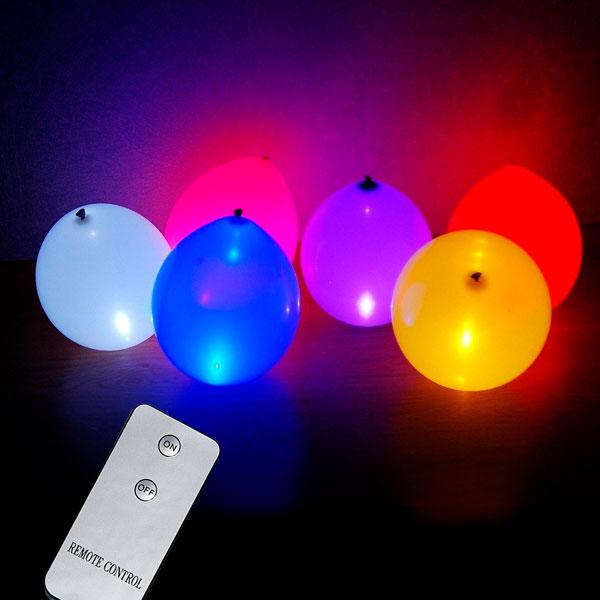 Светящиеся шары с воздухом 6 штук с пультом управления