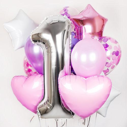 Связка из шаров на 1 годик для девочки Нежный