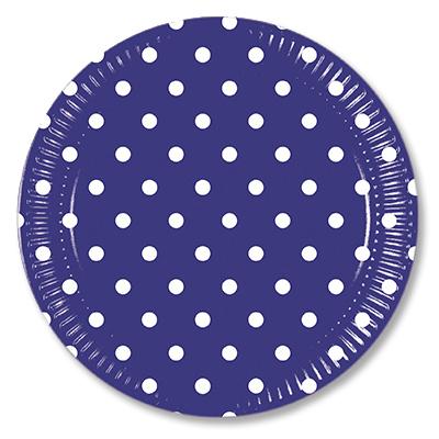 Тарелки 23 см Горошек синий 10 штук