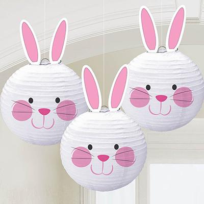Фонарики бумажные 24 см Кролик 3 штуки