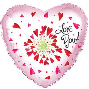 Шар 46 см Сердце Я люблю тебя любит не любит Розовый