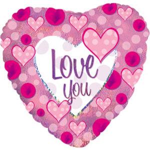 Шар 46 см Сердце Я люблю тебя розовые сердечки Голография