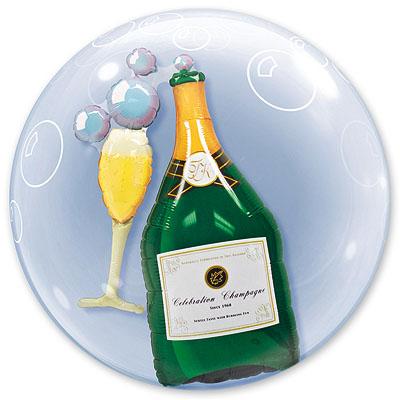 Шар 61 см BUBBLE ИНСАЙДЕР Шампанское и Бокал