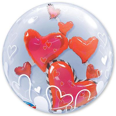 Шар 61 см bubble ИНСАЙДЕР Парящие Сердца
