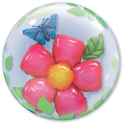 Шар 61 см bubble ИНСАЙДЕР Цветок и Бабочка