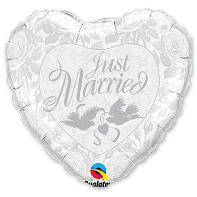 Шар 91 см Сердце Just Married Серебро