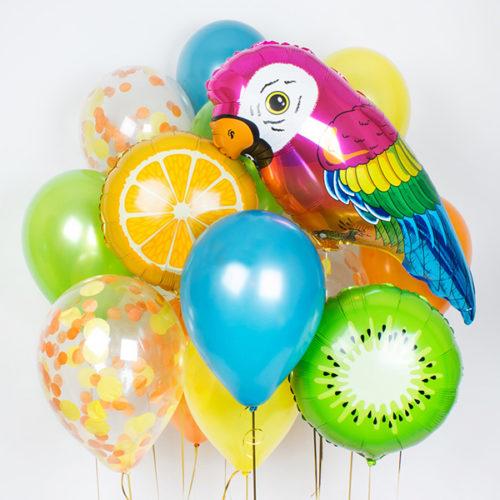 Комплект из шаров Яркий с Попугаем Тропики
