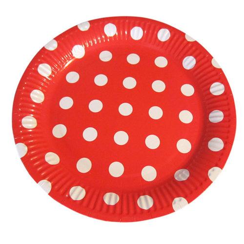 Тарелки 23 см Горох Белый на красном 6 штук