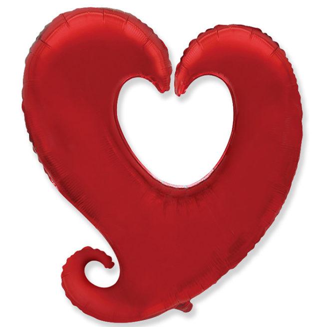 Шар 102 см Фигура Сердце витое Красный
