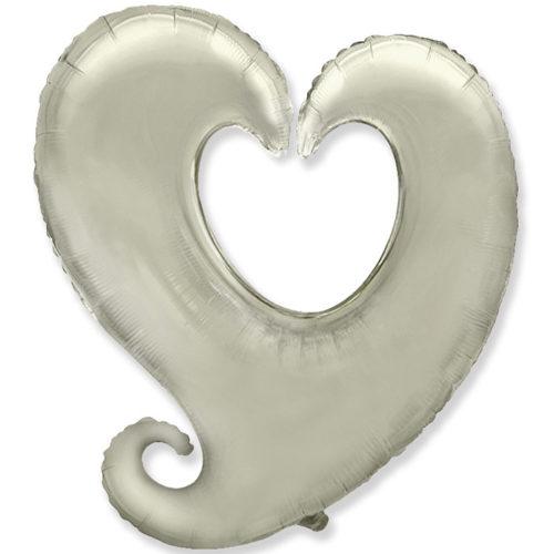 Шар 102 см Фигура Сердце витое Серебро