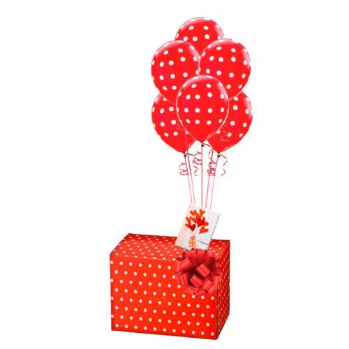 Подарочная коробка с шарами и открыткой Красный горошек