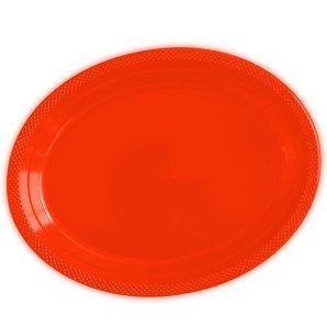 Тарелки сервировочные пластиковые 25 х 32 см Делюкс Красный 5 штук