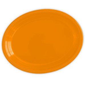 Тарелки сервировочные пластиковые 25 х 32 см Делюкс Оранжевые 5 штук