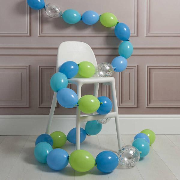 Гирлянда из 30 шаров с воздухом голубые тона