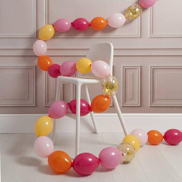 Гирлянда из 30 шаров с воздухом розовые тона