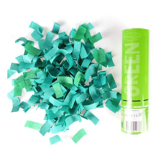 Пневмохлопушка 20 см Зеленое конфетти
