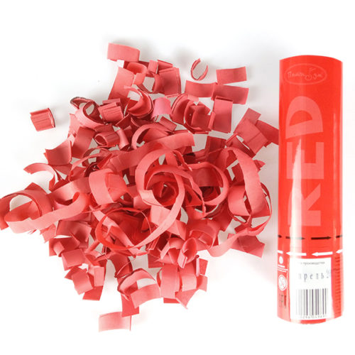 Пневмохлопушка 20 см Красное конфетти