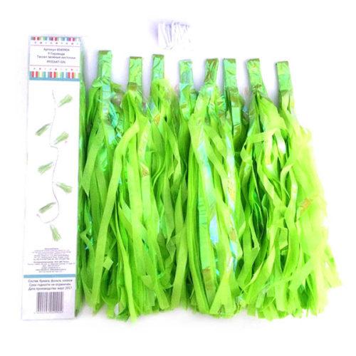 Праздничная гирлянда Тассел зеленые кисточки 8 штук