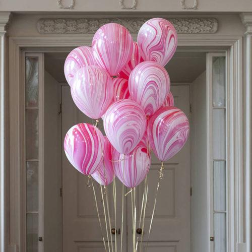 Связка из 15 мраморных розовых шаров