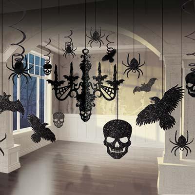 Декор комплект подвесной Череп блеск 17 штук