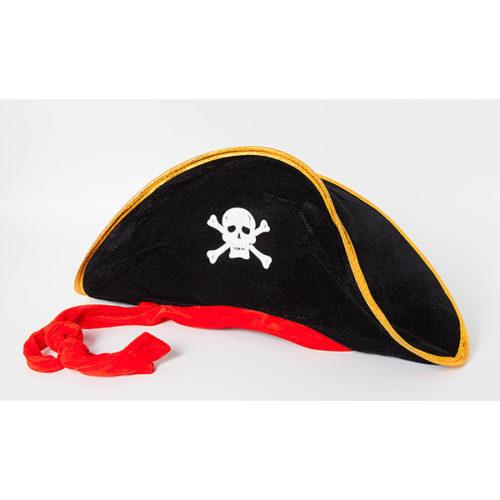 Шляпа Пиратская с красной лентой взрослая