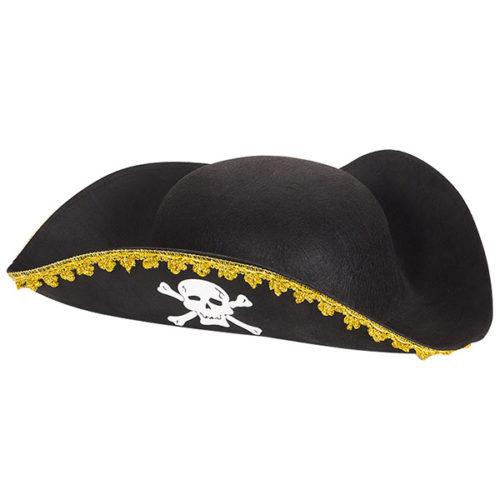 Шляпа Пират черная с черепом