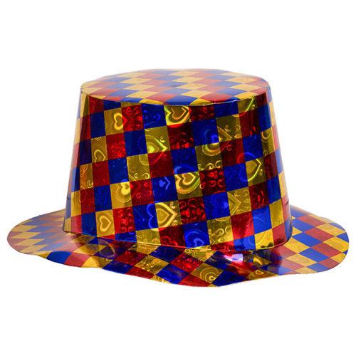 Шляпа Цилиндр голография в разноцветную клетку