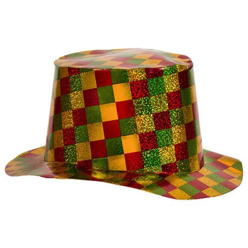 Шляпа Цилиндр голография клетка золото